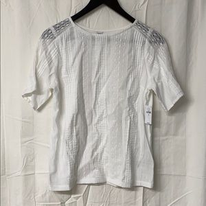 White Lacy SS Tee